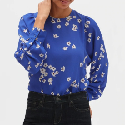 Frugal Friday's Workwear Report: Floral Print Blouson Sleeve Top - Corporette.com