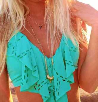 swimwear turqouise ruffle vintage bikini top bikini aqua ruffled bikini ruffle trim bikini jewels top turqoise teal bandeau terqouise crop tops blouse bathing suit top turquoise turquoise swimsuit boho pretty beach summer outfits cut-out long ruffles cute summer