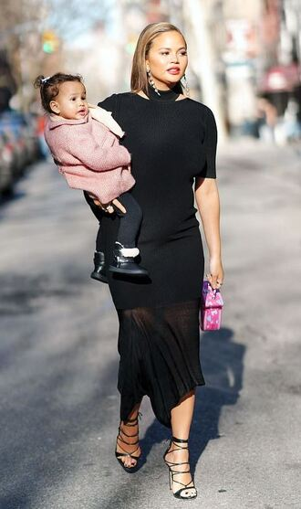dress black dress midi dress chrissy teigen maternity dress maternity sandals celebrity