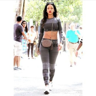 jumpsuit two-piece rihanna alexander wang top bag tank top leggings shirt