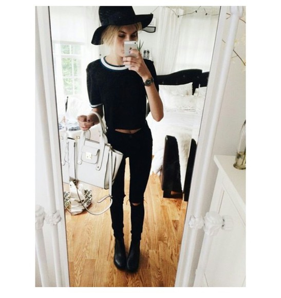 skinny jeans jeans bag grunge black & white fedora fresh on point clothing