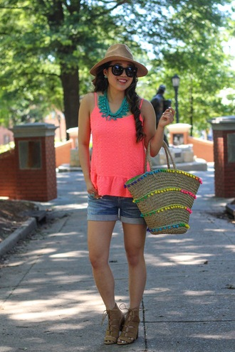 gracefullee made blogger hat shoes shorts jewels sunglasses pink top denim shorts straw hat beach bag lace up heels suede heels booties statement necklace summer outfits