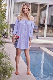 cupcakes and cashmere,blogger,dress,bag,off the shoulder dress,summer dress,summer outfits,sandals,clutch