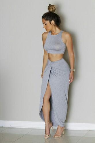 skirt grey skirt long skirt bodycon skirt