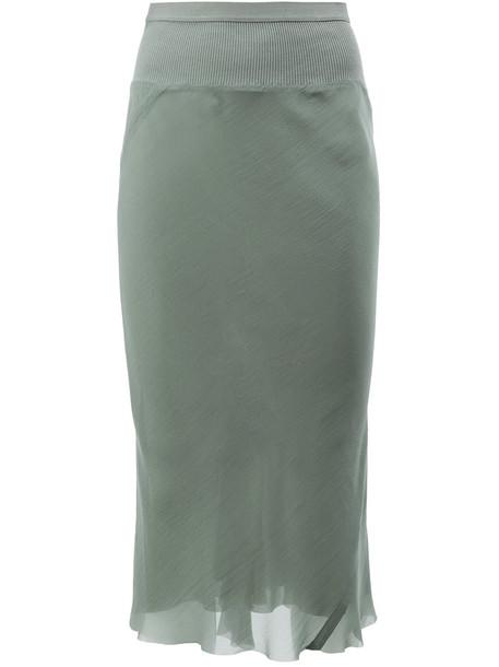 Rick Owens skirt midi skirt women midi cotton silk green
