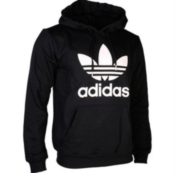 Sweater: black, white, adidas, women, hoodie - Wheretoget