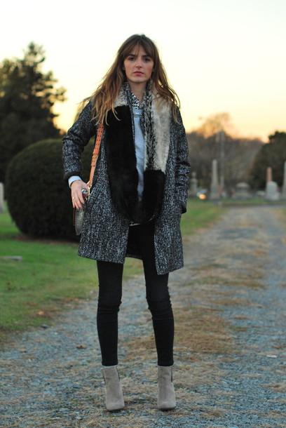 jess style rules bag scarf shoes jeans fur scarf
