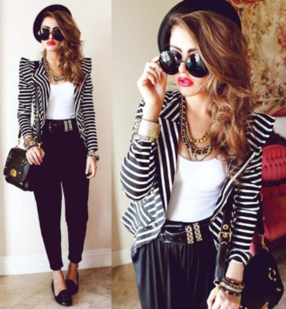 shoes clothes sunglasses jacket coat black and white stripes forever 21 bag cute style