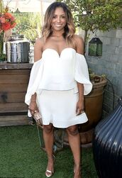 shoes,sandals,sandal heels,kat graham,off the shoulder,off the shoulder top,white,white dress,all white everything,summer outfits,summer dress