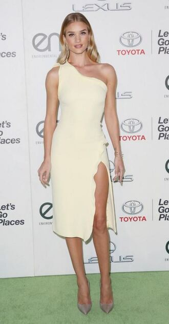 dress one shoulder gown slit dress rosie huntington-whiteley shoes