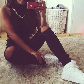shoes white nikes gold chain crop tops nike shoes nike air force 1 jeans
