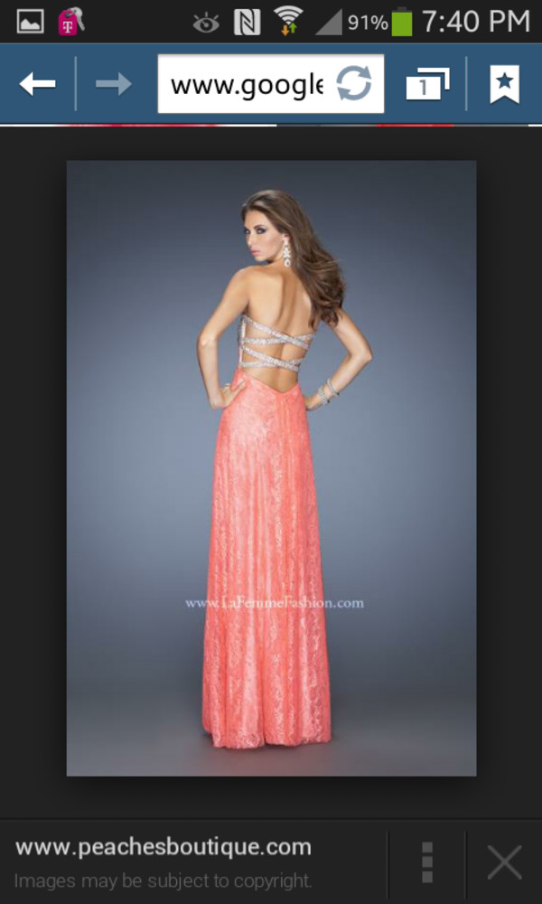 coral prom long backless dress
