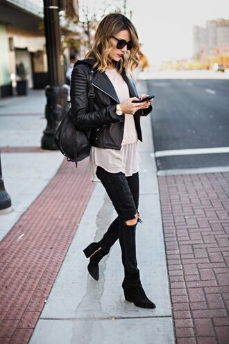 jeans leather jacket white shirt black boots blogger black backpack sunglasses black ripped jeans