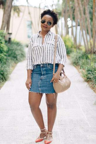 pinksole blogger sunglasses jewels shirt skirt bag shoulder bag spring outfits denim skirt flats