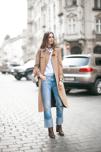 fashion agony blogger coat bag cropped jeans beige coat ripped jeans animal print high heels animal print brown boots kick flare cropped bootcut jeans cropped bootcut blue jeans cropped bootcut ripped jeans