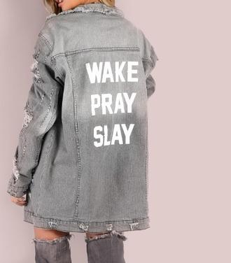 jacket grey girly girl girly wishlist trendy denim jacket denim print quote on it ripped