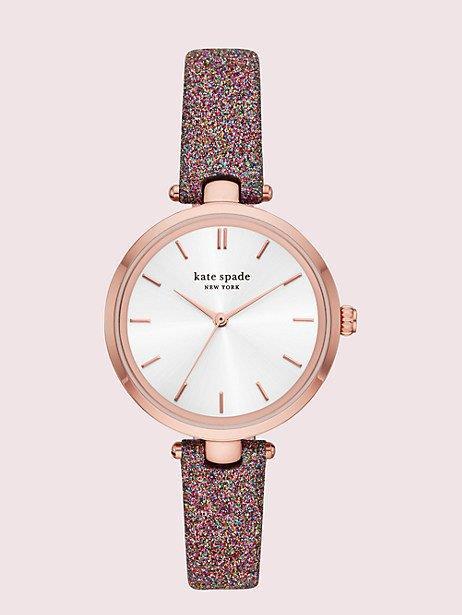 holland rainbow glitter leather watch