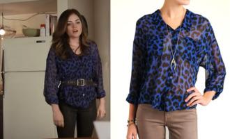 blouse leopard print blue aria montgomery pretty little liars shirt