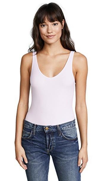 ATM Anthony Thomas Melillo bodysuit v neck lavender underwear