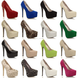 WOMENS LADIES HIGH HEEL CONCEALED PLATFORM PARTY COURT SHOES PUMPS SIZE | eBay