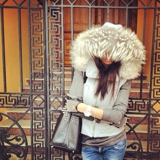 jacket fur vest gloves spikes coat fur jacket grey fur coat fashion style