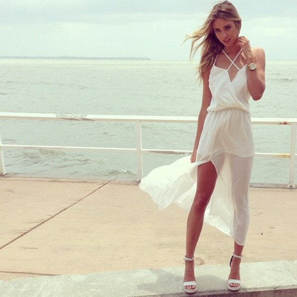 dress prom white cream straps heels cute girl summer fall outfits winter outfits pretty white dress