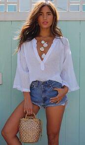 blouse,top,denim,denim shorts,blogger,rocky barnes,instagram,white top,summer,summer outfits,necklace,accessories