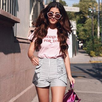 sunglasses tumblr round sunglasses t-shirt pink t-shirt shorts stripes striped shorts summer outfits quote on it