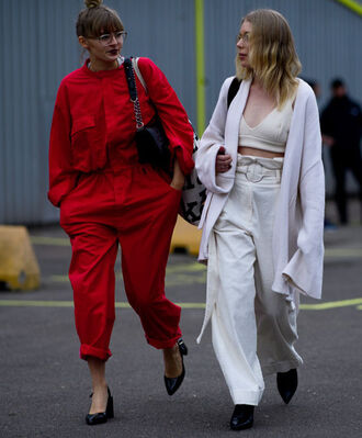 jumpsuit tumblr red jumpsuits oversized pants white pants high waisted pants wide-leg pants top white top white crop tops crop tops coat white coat boots black boots pumps pointed toe pumps mid heel pumps clear lens sunglasses fashion week 2017 streetstyle all white everything