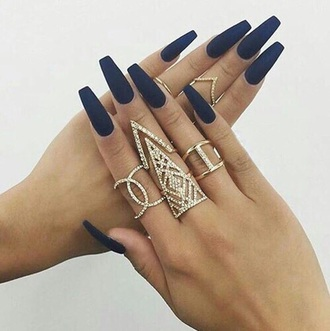 jewels gold dimonds silver ring black colorful balerina nails royal blue nails matte acrylic nails long nails gold ring jewelry bling knuckle ring