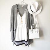 dress,slip dress,outfit,women fashion,women clothes,white hat,white bag,necklace,stylish