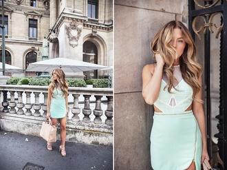 angelica blick blogger dress mint dress mint spring dress mesh dress zip cut-out dress