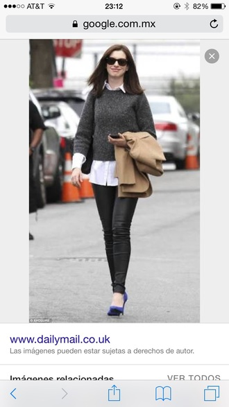 sweater grey classy anne hathaway