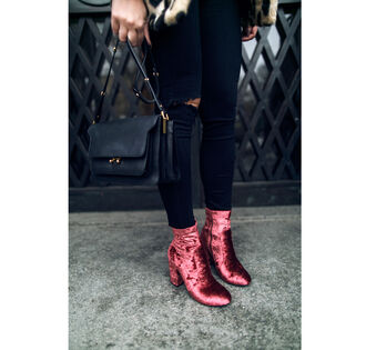 shoes tumblr boots red boots ankle boots thick heel block heels velvet velvet shoes velvet boots denim jeans black jeans ripped jeans bag black bag