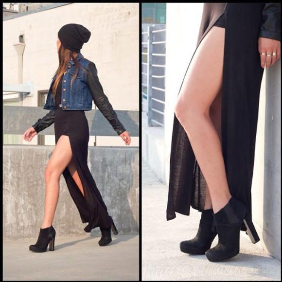 skirt slit skirt slitted maxi skirt black skirt
