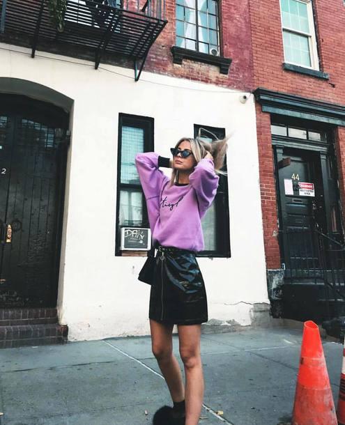 sweater purple sweater skirt black skirt