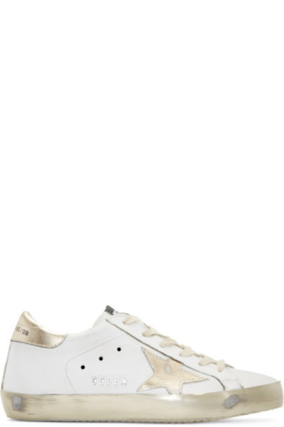 Golden goose white sneakers gold shoes