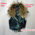Online Shop 2013 Women Cool Motorcycle Real Fur Collar Rivet Studded Denim Vest, Thicken Cotton-padded Lining Denim Jean Vest Coat|Aliexpress Mobile