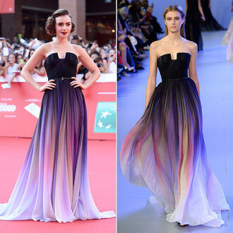 dress lily collins ombre dress ombre elegant evening dress prom dress purple
