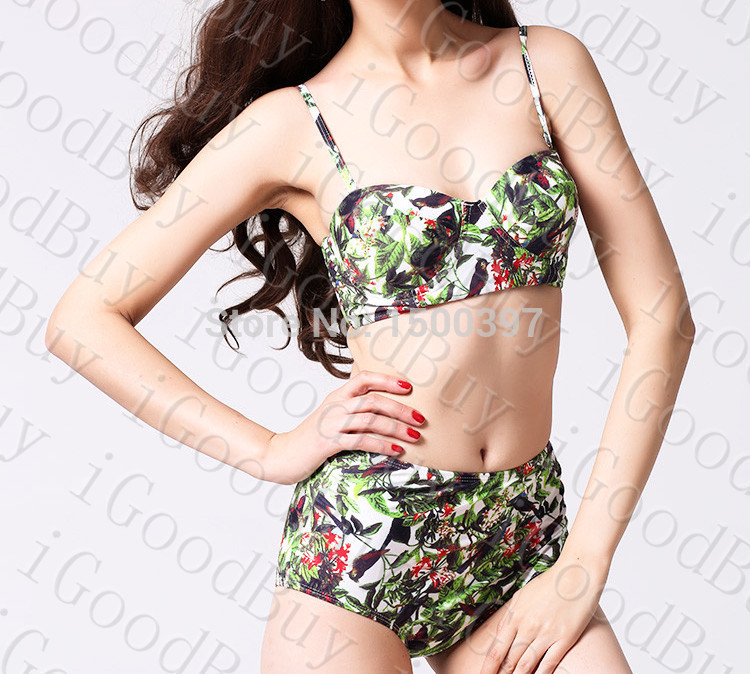 Aliexpress.com : buy tropical birds print bikini green multi printed high waisted bikinis set vintage push up swimwear printed swimsuit plus size xl from reliable bikinis set suppliers on igoodbuy