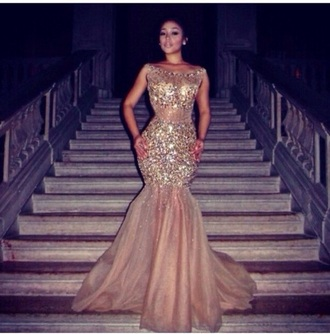 fitted dress gold mermaid prom dresses nude dress crystal
