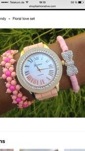 jewels,pink,bracelets,bows