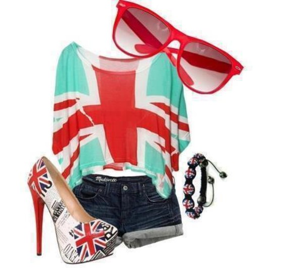 shirt union jack sunglasses high heels shoes