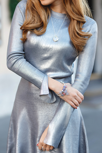 dress tumblr silver silver dress metallic metallic dress long sleeves long sleeve dress new year dresses bracelets necklace jewels jewelry holiday season holiday dress