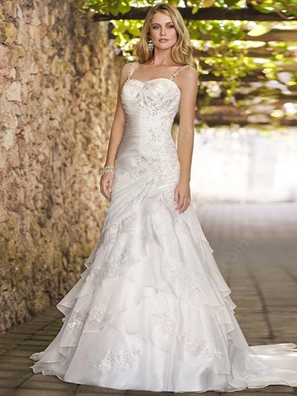 dress a-line satin lace wedding dress