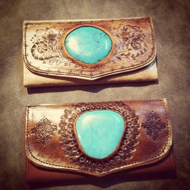 7f0fb28a6203 bag leather turquoise brown wallet country wallet boho bohemian wallet brown  leather wallet hippie hippie hippie