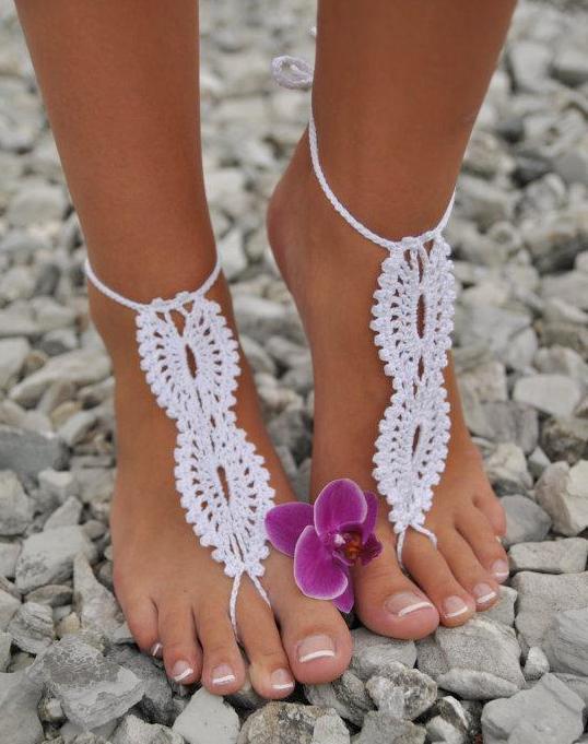 Crochet Foot Sandalswedding Accessories Bridalbeach Sandalsknit Crochetwomen Accessoriesfoot Jewelrybeach Wear