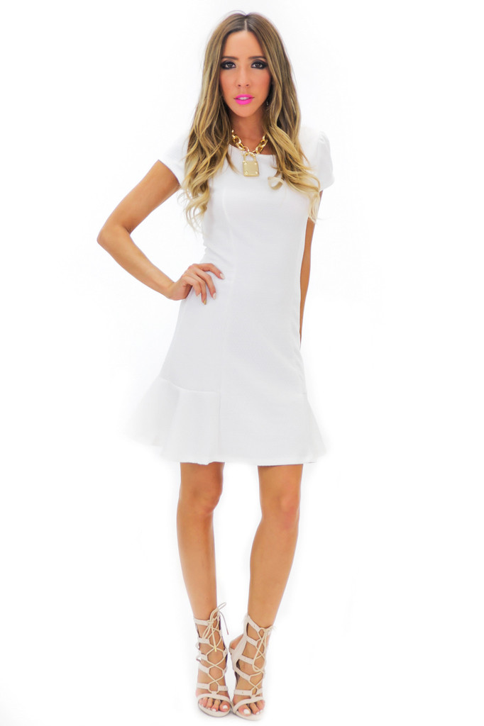 BECKA SHIFT DRESS - White | Haute & Rebellious