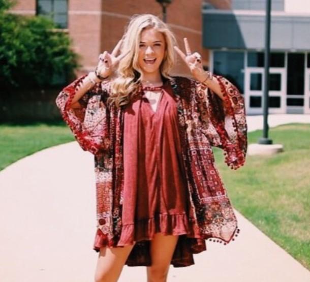 dress maroon/burgundy cute dress cute outfit cute outfits boho dress fall outfits