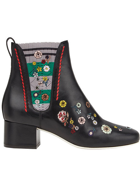 Fendi embroidered women spandex floral leather black shoes
